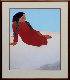 Woman in Red Dress, Reclining Figure Signed Print