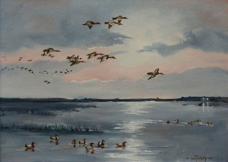 Seascape with Flock of Ducks  - Painting by Dan Findlay