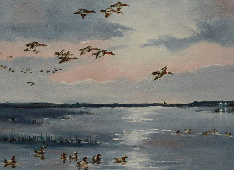 Seascape with Flock of Ducks  - American Impressionist Painting by Dan Findlay