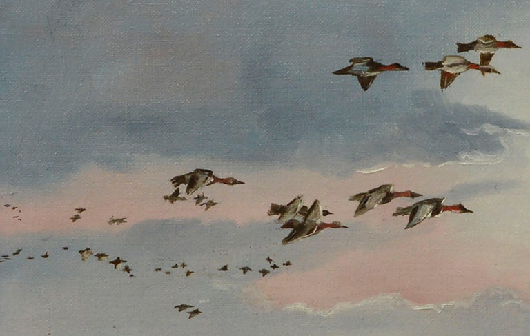 Seascape with Flock of Ducks  - Gray Figurative Painting by Dan Findlay