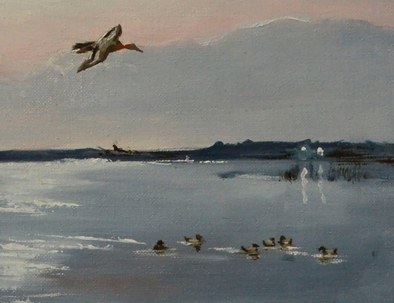 Tranquil seascape with a large flock of migrating Redhead ducks in flight by California artist Dan Findlay (American, 20th Century). Signed