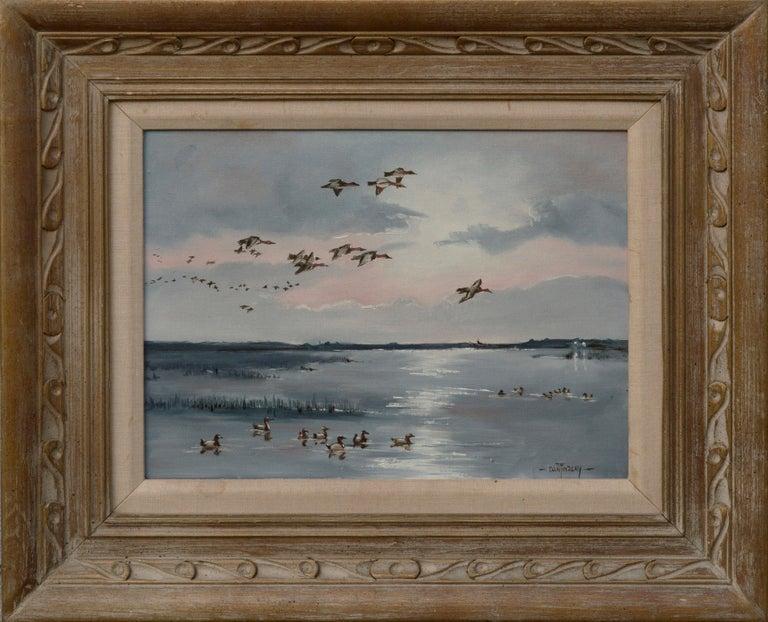 Dan Findlay Figurative Painting - Seascape with Flock of Ducks