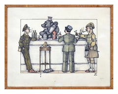 Mid Century Berlin Tavern with Russian Bear Illustration