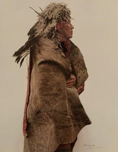 Crow Indian Wearing 1860's War Medicine Bonnet, 835/1000
