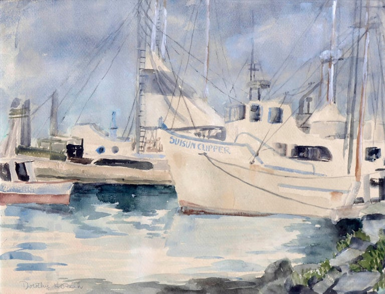 Boats at Moss Landing Harbor, Mid Century Seascape  - Art by Dorothy Ruth Houghton Rich