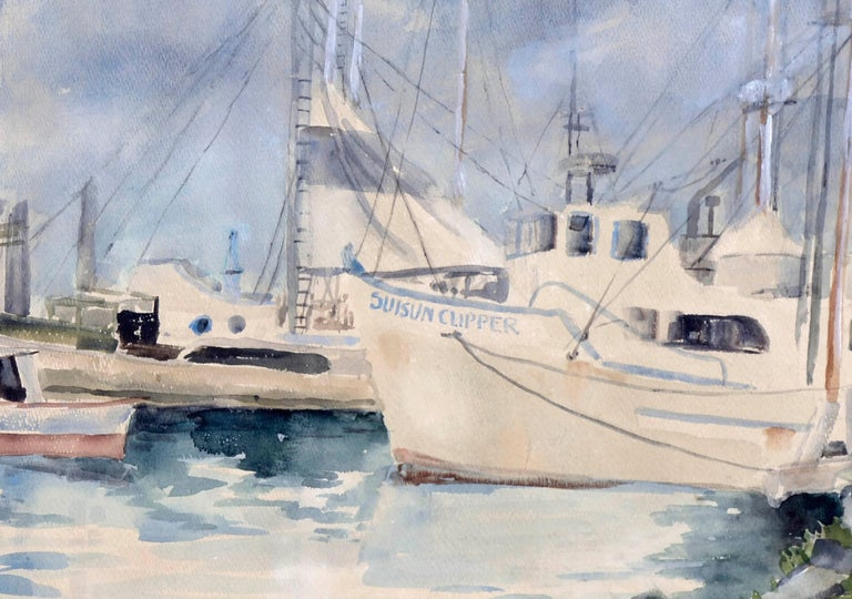 Boats at Moss Landing Harbor, Mid Century Seascape  - American Impressionist Art by Dorothy Ruth Houghton Rich