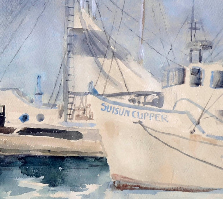 Boats at Moss Landing Harbor, Mid Century Seascape  - Gray Landscape Art by Dorothy Ruth Houghton Rich