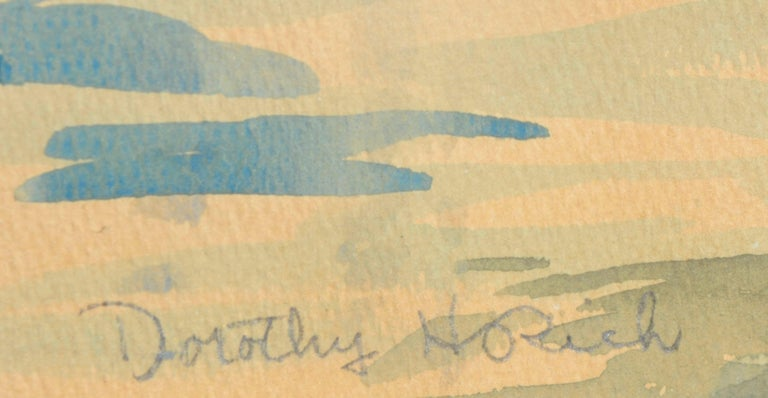 Mid Century watercolor seascape of the