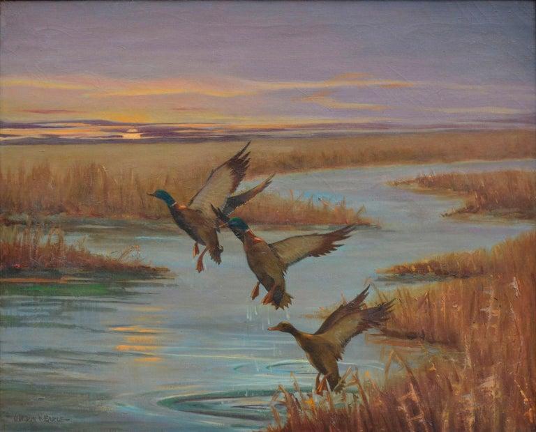 Mallards Take Flight, Mid Century Louisiana Marsh Landscape  - Painting by Gordon V. Earle