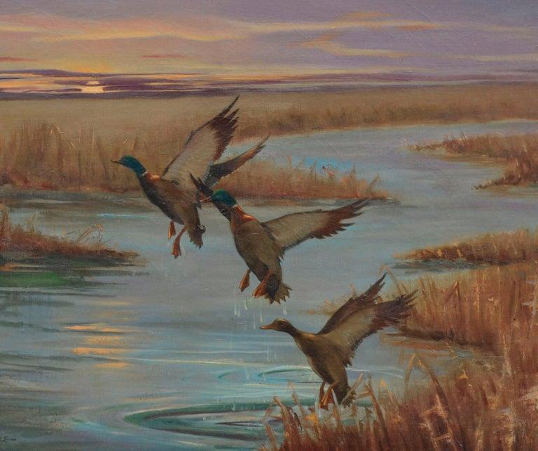 Mallards Take Flight, Mid Century Louisiana Marsh Landscape  - American Impressionist Painting by Gordon V. Earle