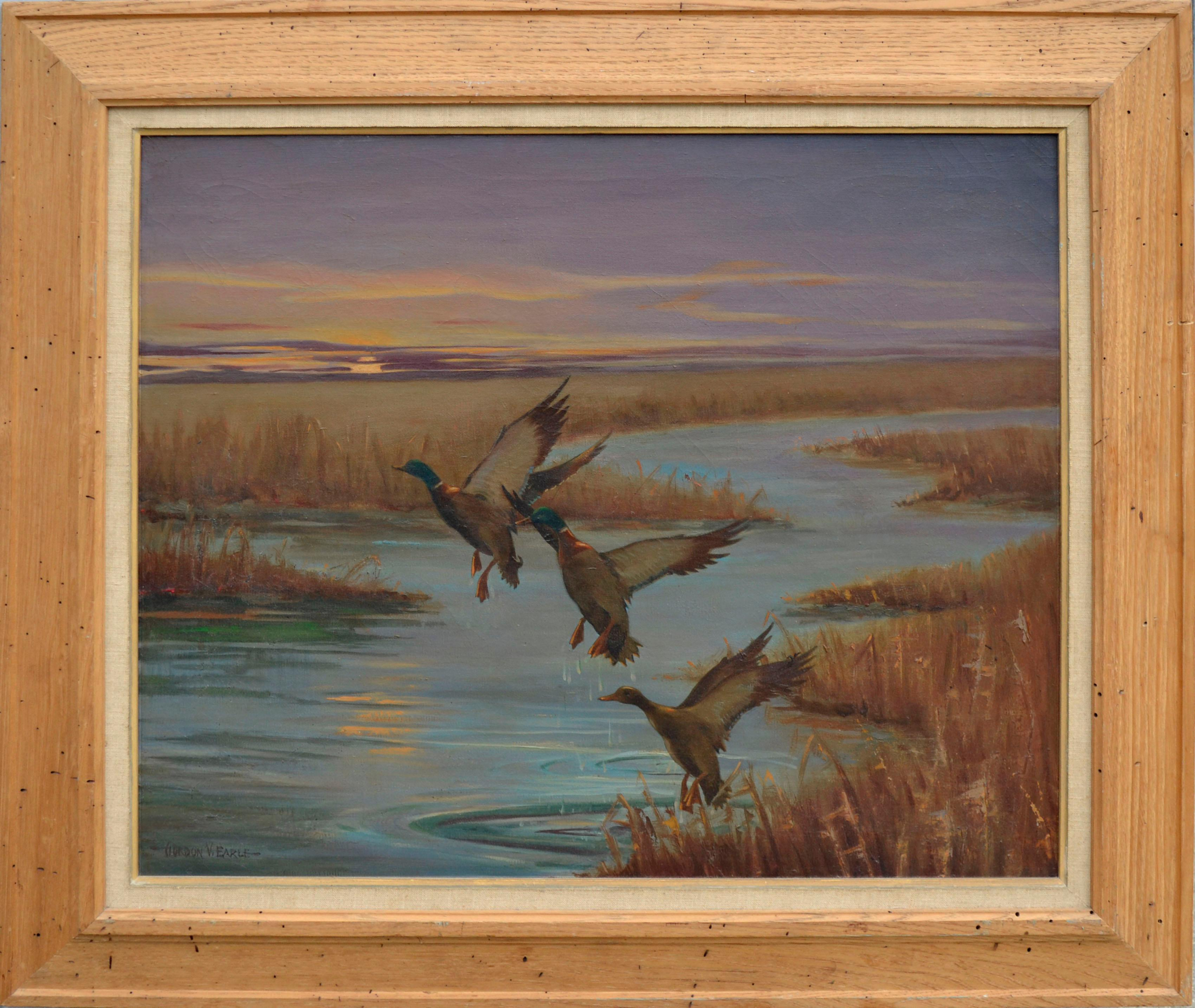 Mallards Take Flight, Mid Century Louisiana Marsh Landscape