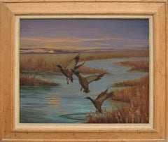 Mallards Take Flight, Mid Century Louisiana Marsh Landscape
