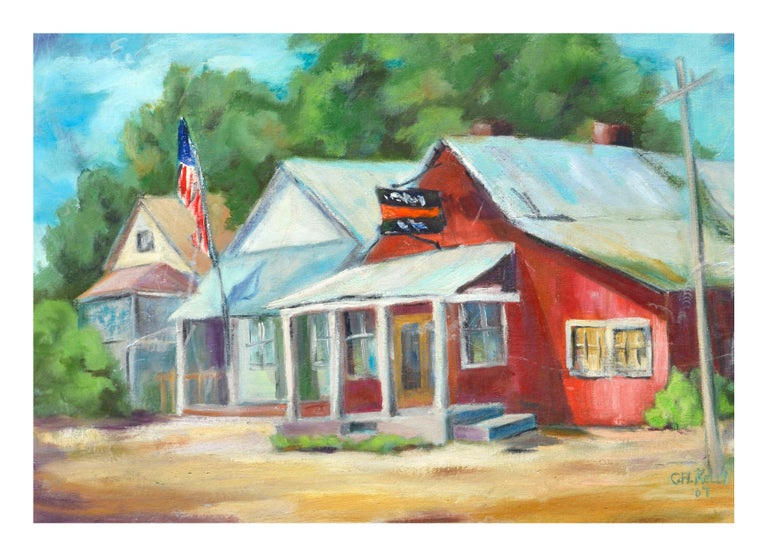 Country Town Landscape  - Painting by Carol H. Kelly