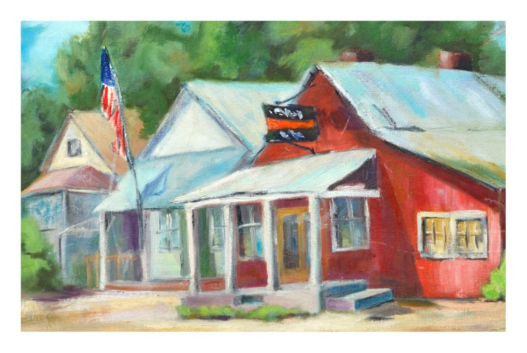 Country Town Landscape  - American Impressionist Painting by Carol H. Kelly