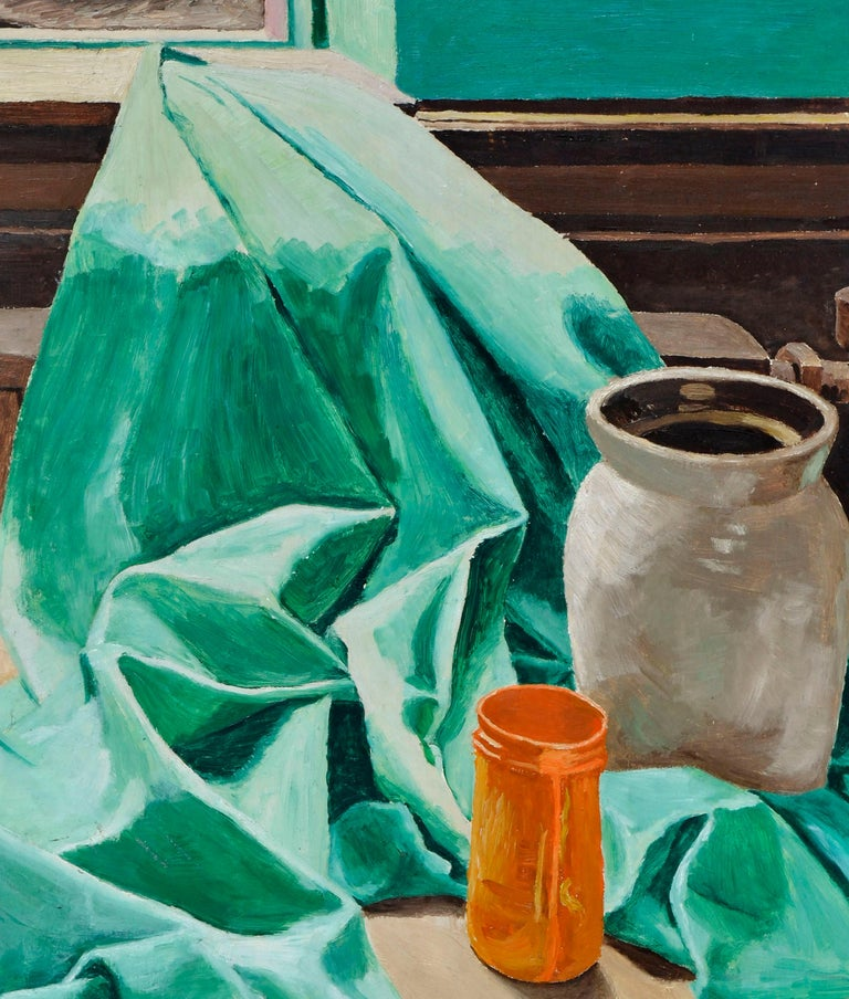 Mid Century Still-Life with Green Drape  - Painting by W. Gray