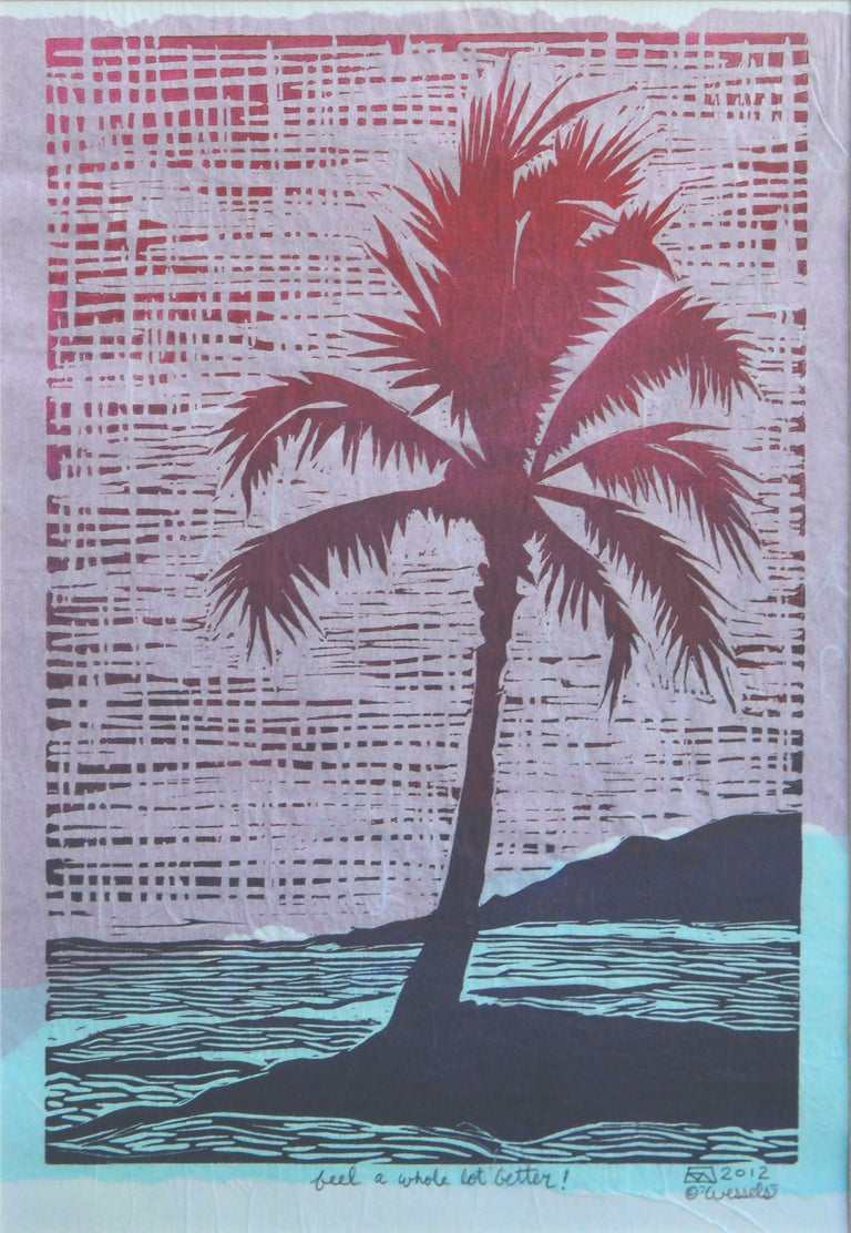 Tropical Palm Block Print - Gray Landscape Print by K Wessels