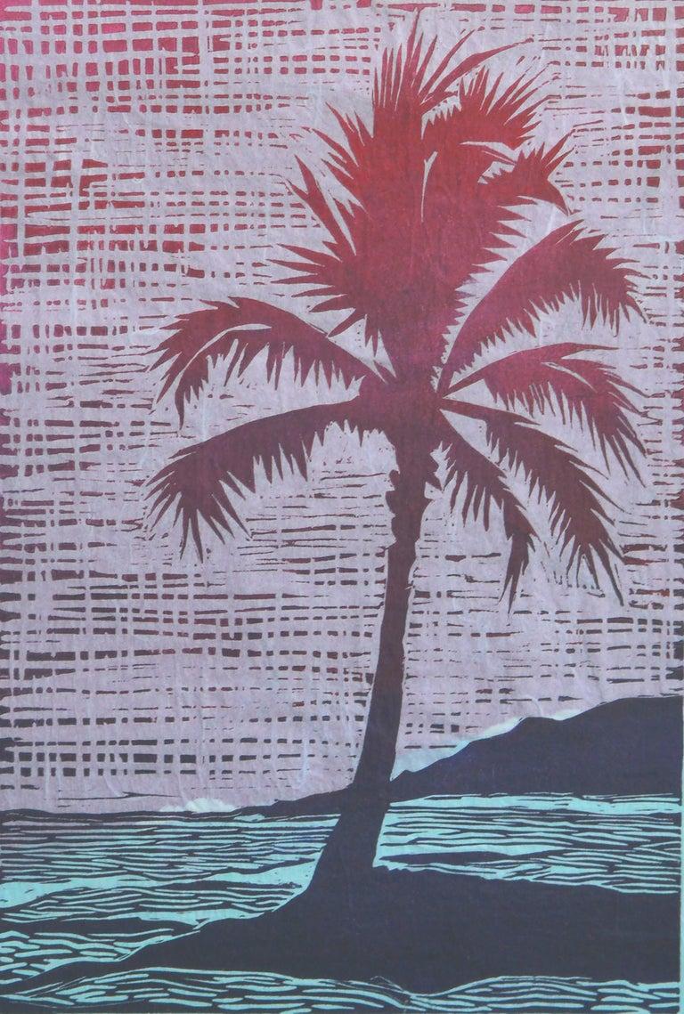 Wonderful tropical Woodcut print of Palm Tree on island. Signed
