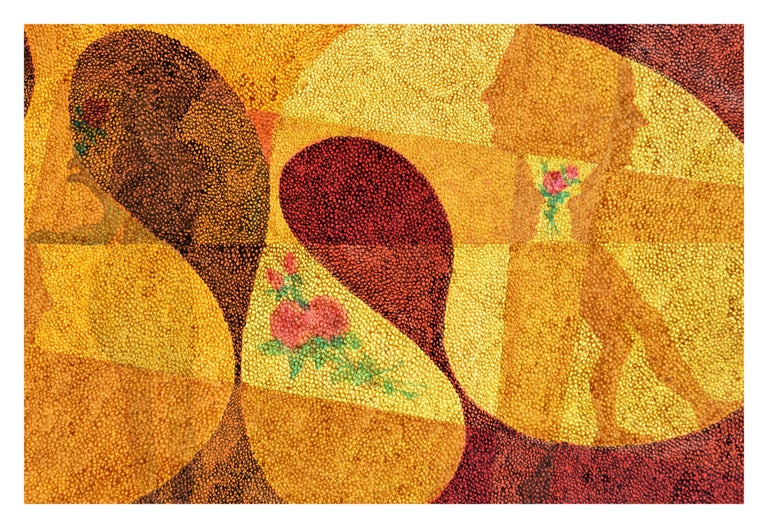 Figures in Motion with Roses - Pointillist Figurative Abstract  - Art by Ben Black