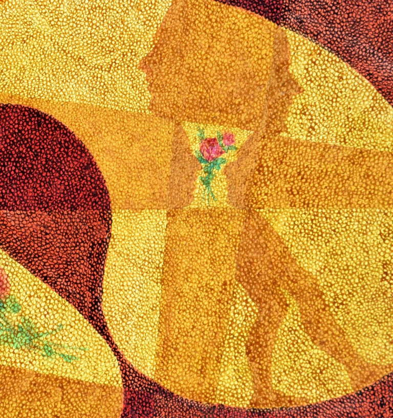 Figures in Motion with Roses - Pointillist Figurative Abstract  - Brown Abstract Drawing by Ben Black