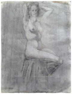 Mid Century Seated Nude Figure Study