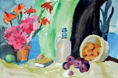Flowers and Fruit Still Life / Coastal Seascape - Two Sided Watercolor