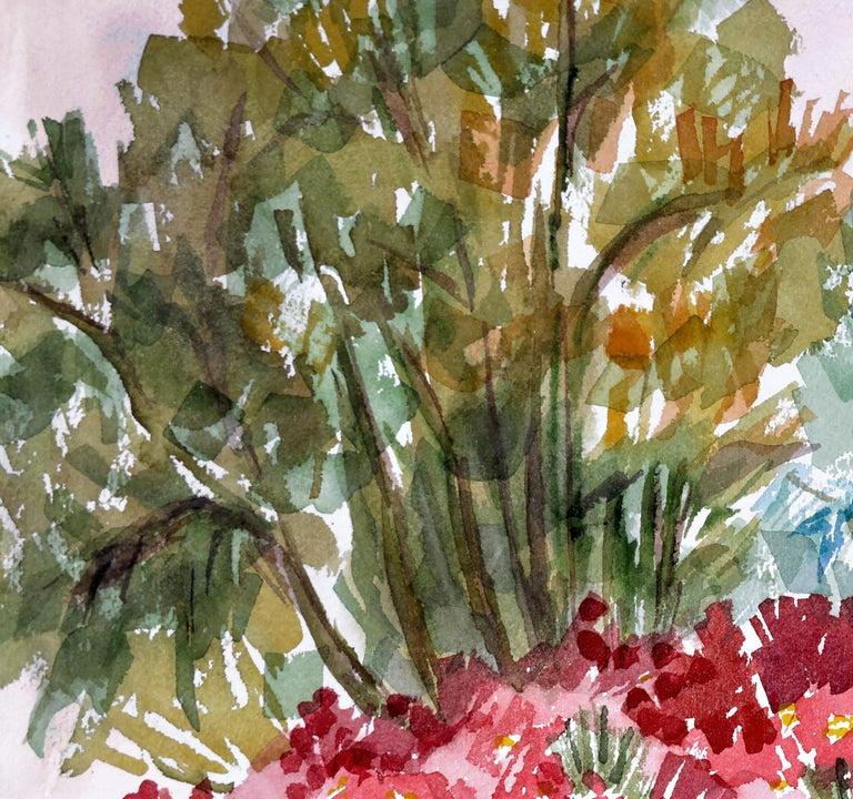 Garden Flowers Landscape  - American Impressionist Art by Doris Warner