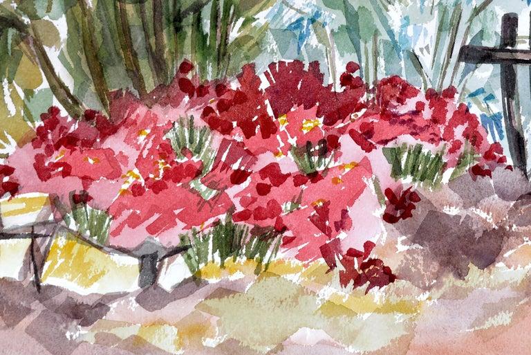 Garden Flowers Landscape  - Gray Landscape Art by Doris Warner