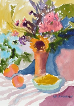 Flowers & Peaches - Summer Still Life