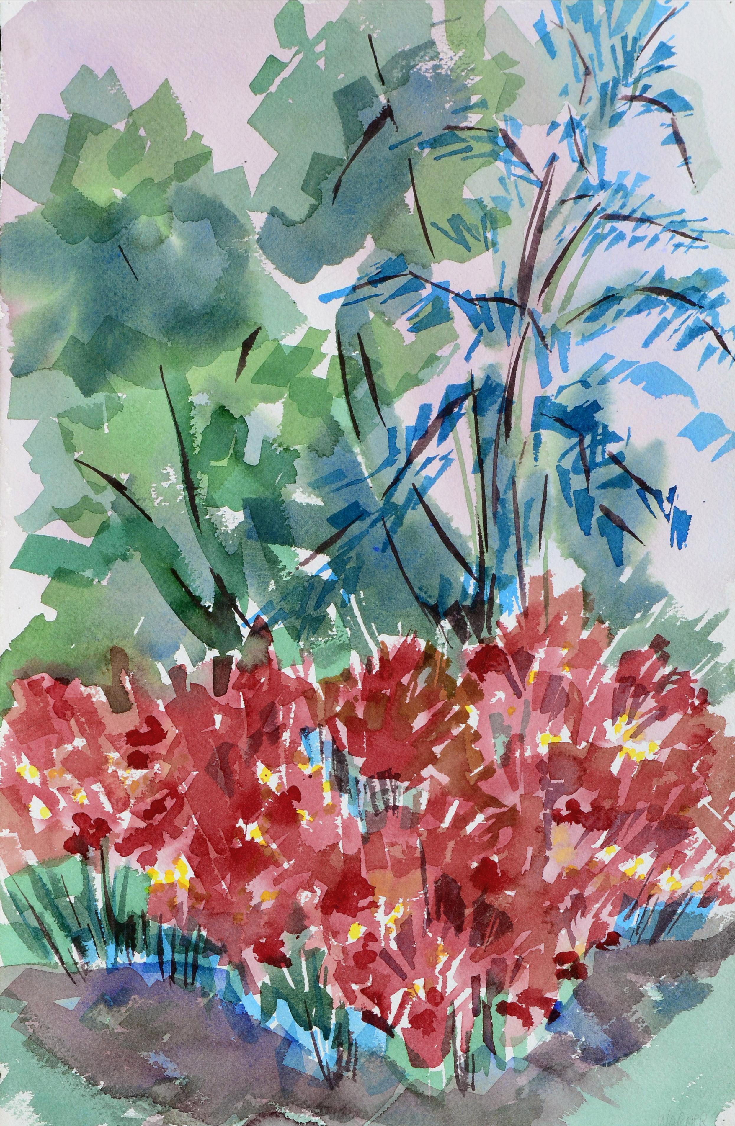 Red Dahlia Garden Landscape