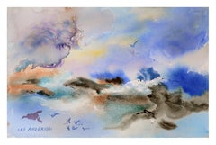 Sky & Surf - Abstracted Watercolor Landscape with Birds
