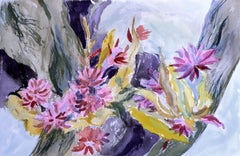 Chrysanthemums & Colorful Abstract - Two Sided Watercolor