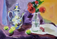 Roses & Teapot with Limes Still Life