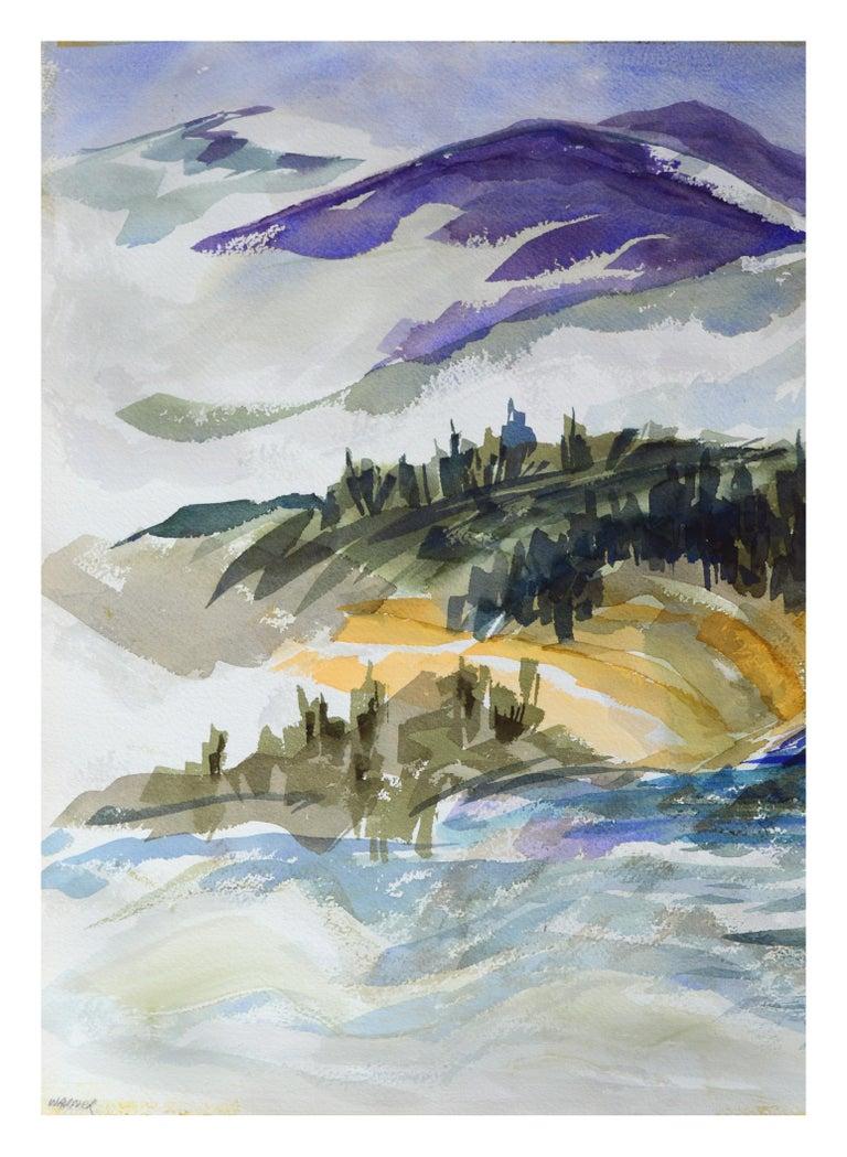 Doris Warner Landscape Art - Purple Mountains Landscape