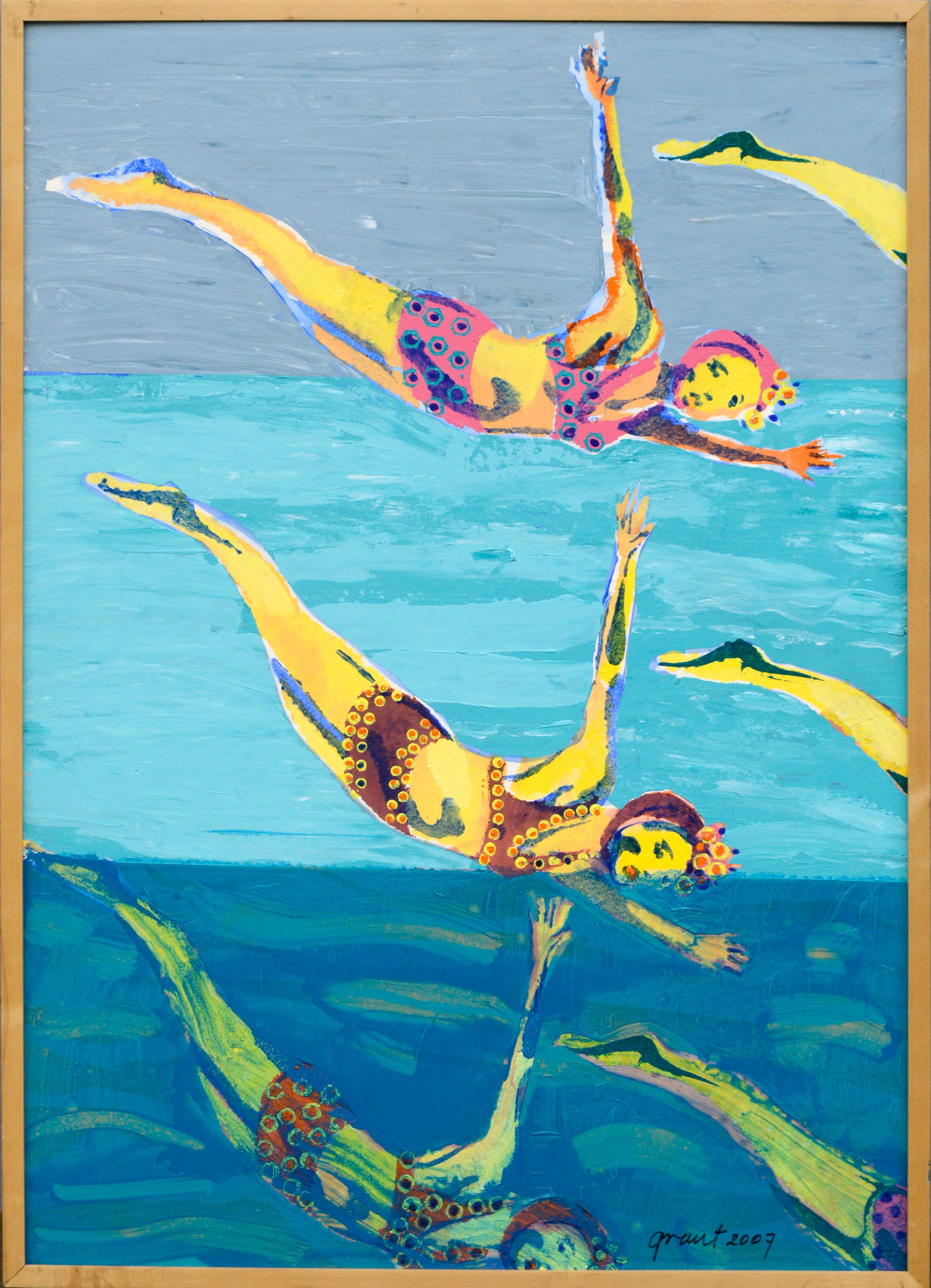 Colorful Swimmers in the Air in Blue