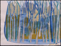 Abstract Blue Forest Landscape