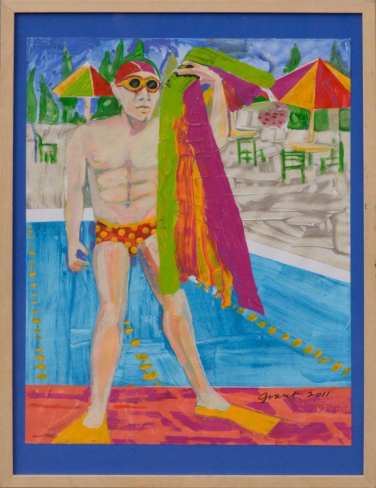 """Marc Foster Grant Landscape Painting - """"Towel Man"""" (Aqua Culture Series)"""