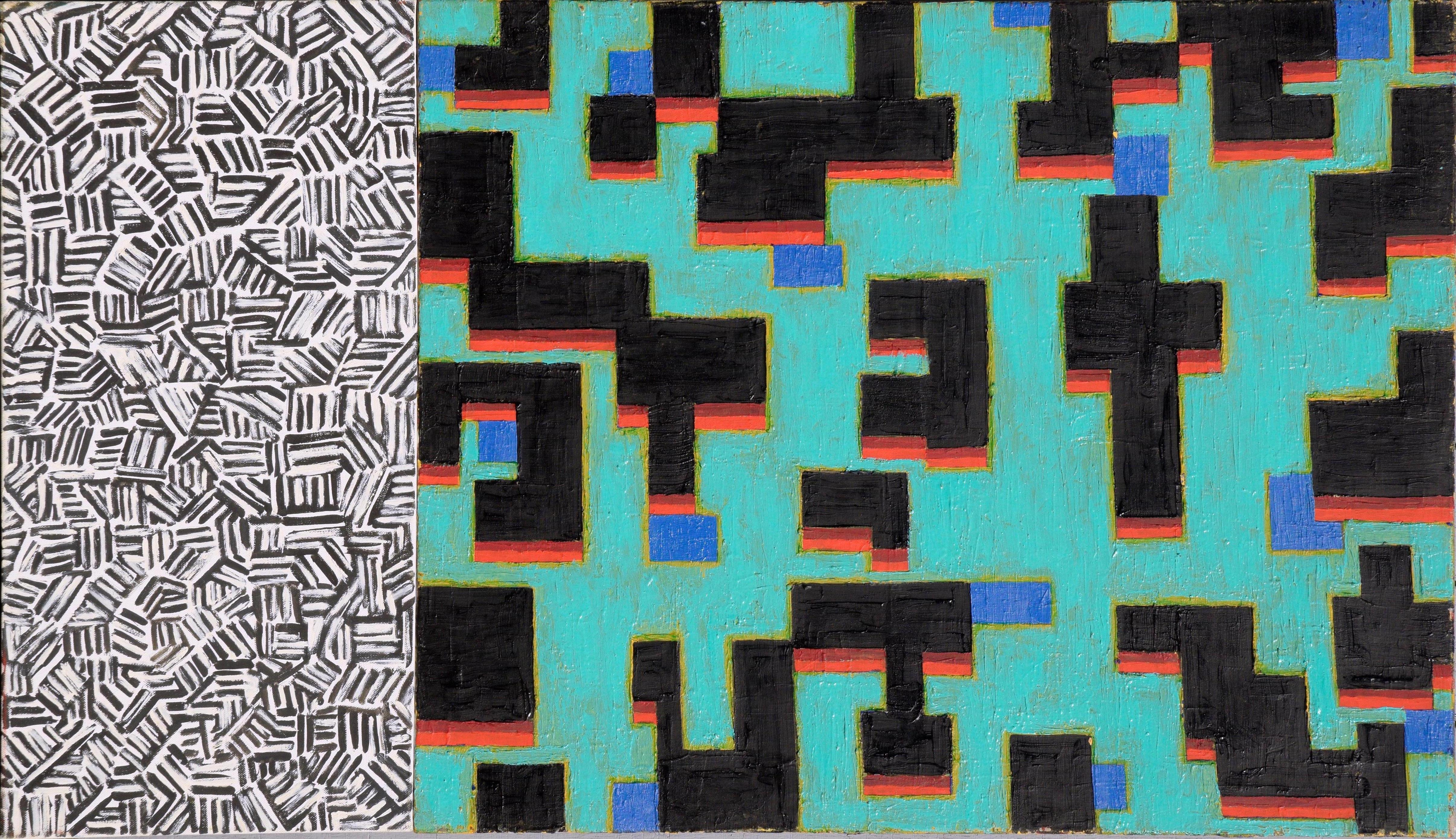 Two-Part Abstract: Teal and Monochrome
