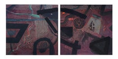 Primordial Abstract Diptych