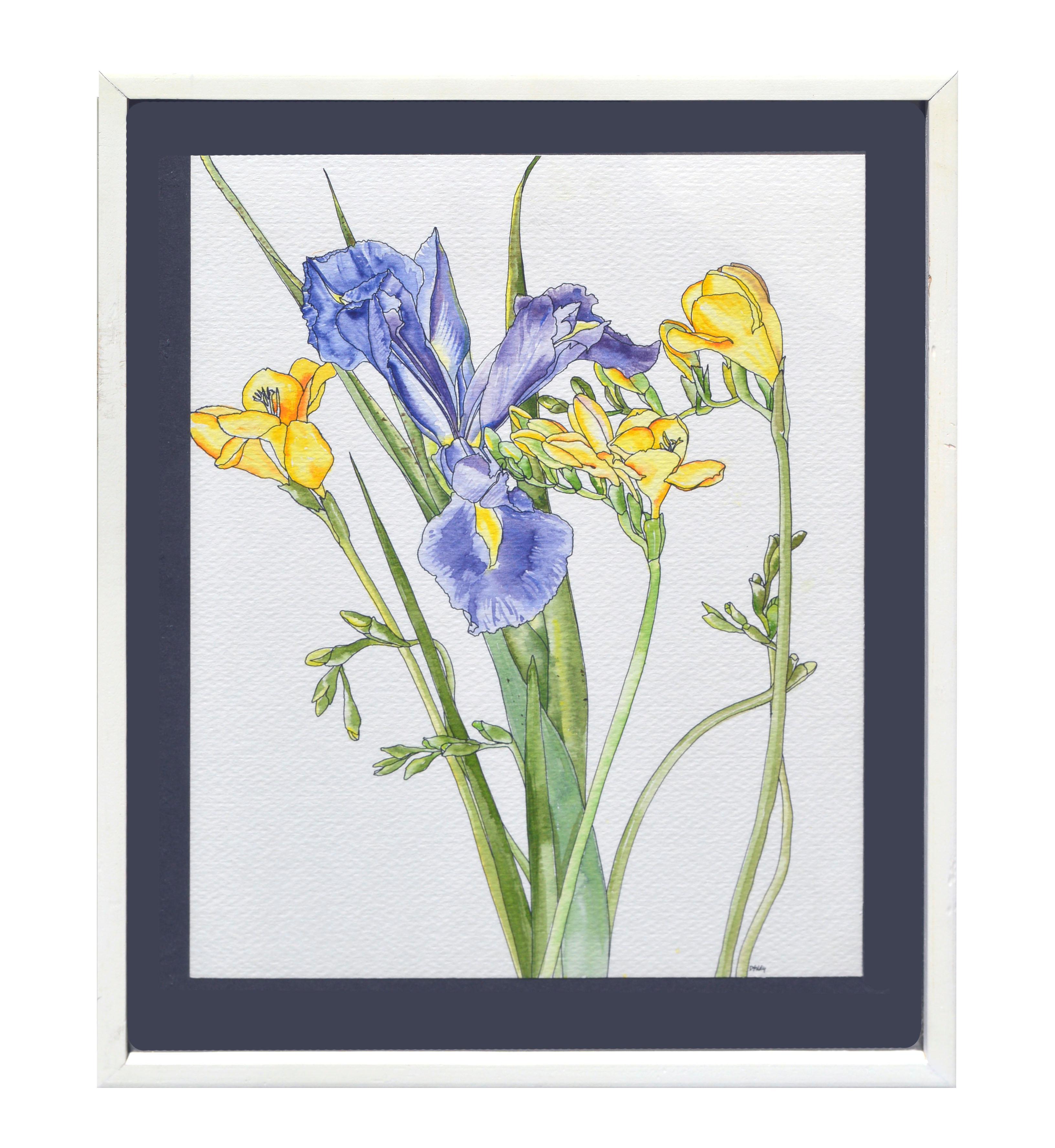 Iris & Yellow Freesia  - Botanical Study