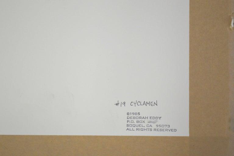 Cyclamen - Botanical Study  - Gray Still-Life by Deborah Eddy