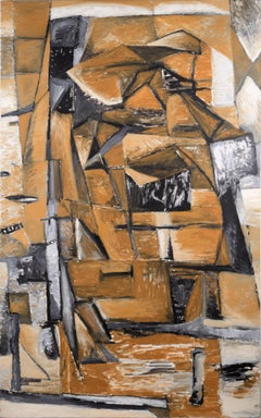 Orange and Black Cubist Abstract
