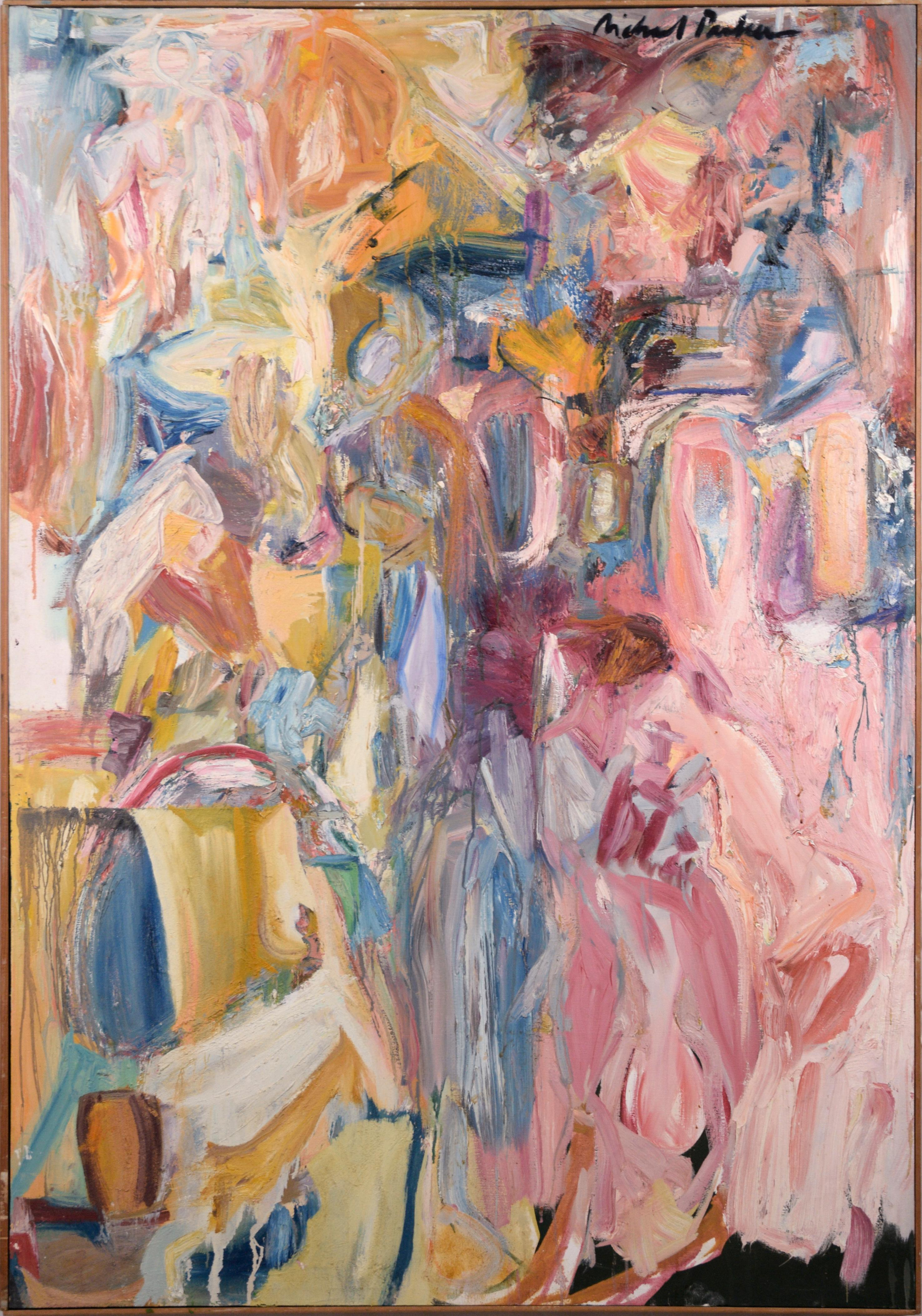 Pink, Blue, and Yellow Abstract Expressionist Figuration