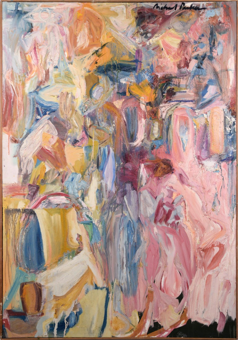 Michael Pauker  Abstract Painting - Pink, Blue, and Yellow Abstract Expressionist Figuration