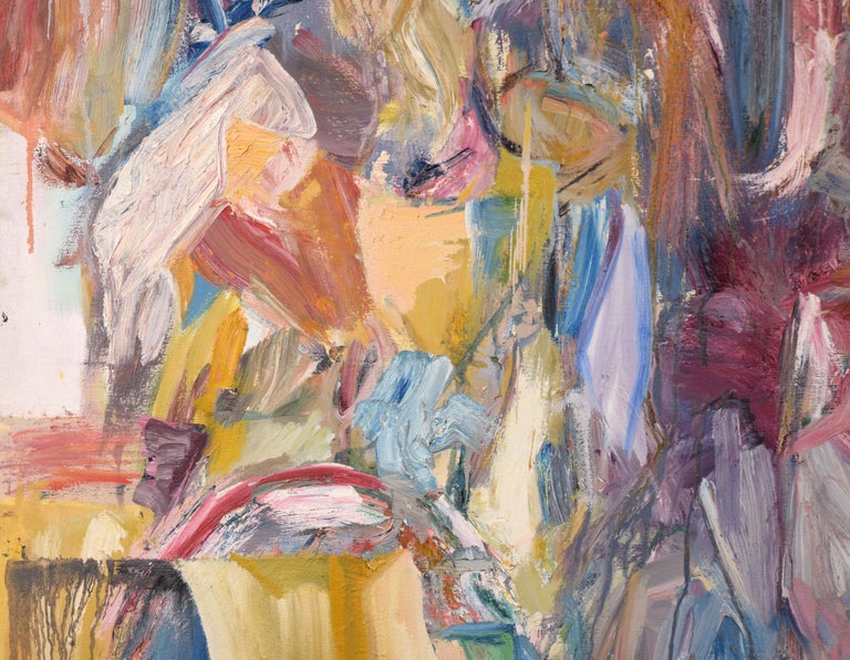 Pink, Blue, and Yellow Abstract Expressionist Figuration For Sale 1