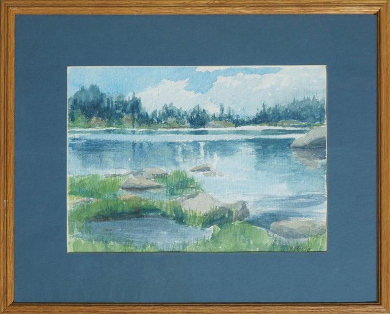 K. Bleecker  Landscape Art - Blue Lake Landscape