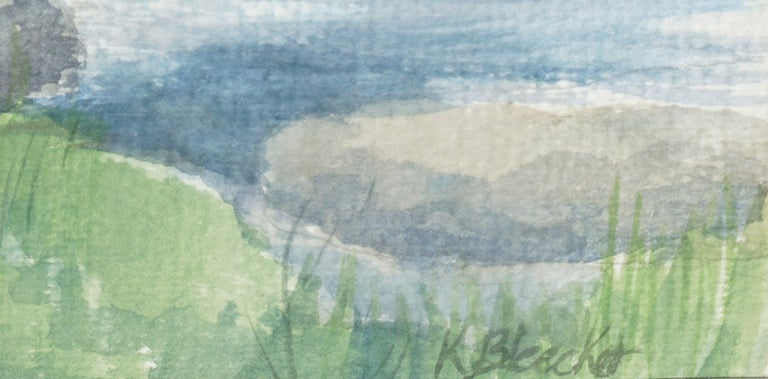Serene watercolor landscape of a calm blue lake surrounded by trees with clouds reflecting in the water by K. Bleecker (American, 20th Century). Signed