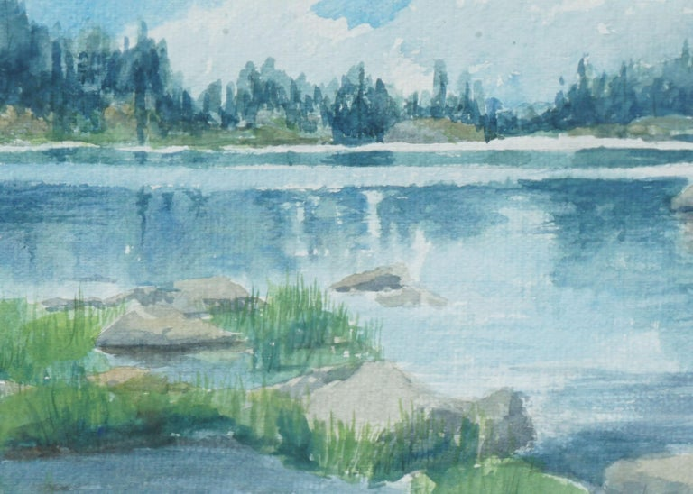 Blue Lake Landscape  - American Impressionist Art by K. Bleecker