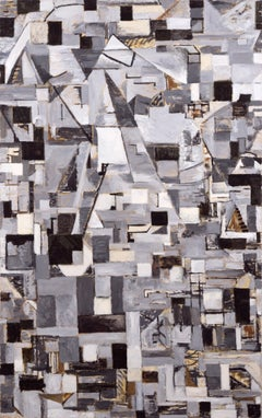 Cubist Abstract with Brown Accents