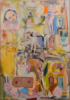 Pink Abstract Expressionist Figurative with Collage