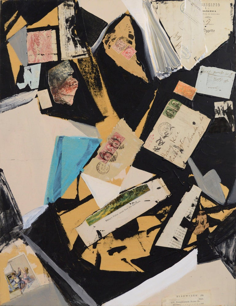 """Abstract expressionist painting with collaged found object elements, including a torn page from Robinson Crusoe, vintage stamps, and old letters by Bay Area artist Michael Pauker (American, b.1957). Titled """"Saved from the Cannibals"""" on verso. Signed"""